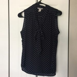 H&M business casual, navy polka dots